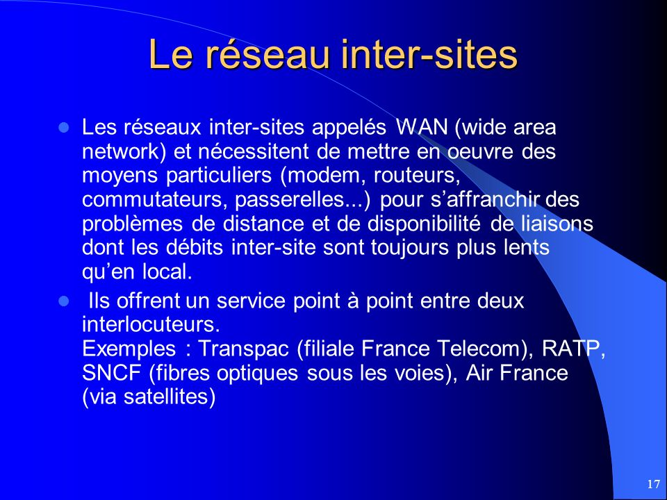17 Le réseau inter-sites Les réseaux inter-sites appelés WAN (wide area network) et nécessitent de mettre en oeuvre des moyens particuliers (modem, ro