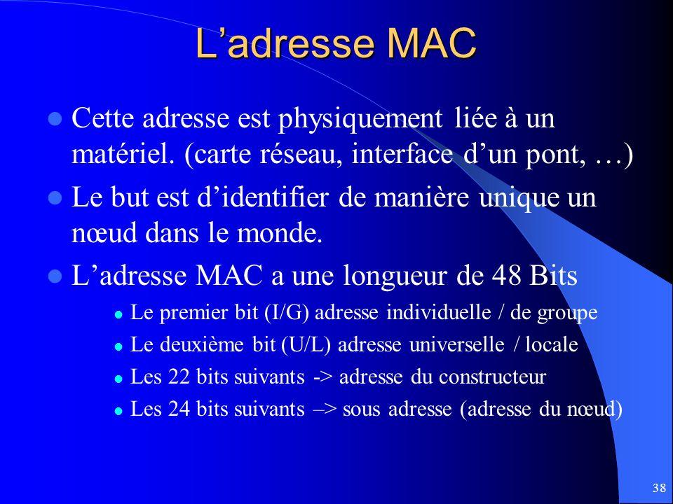 38 Ladresse MAC Cette adresse est physiquement liée à un matériel. (carte réseau, interface dun pont, …) Le but est didentifier de manière unique un n