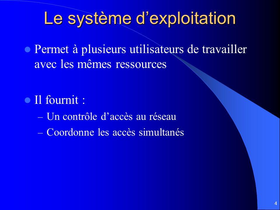 4 Le système dexploitation Permet à plusieurs utilisateurs de travailler avec les mêmes ressources Il fournit : – Un contrôle daccès au réseau – Coord
