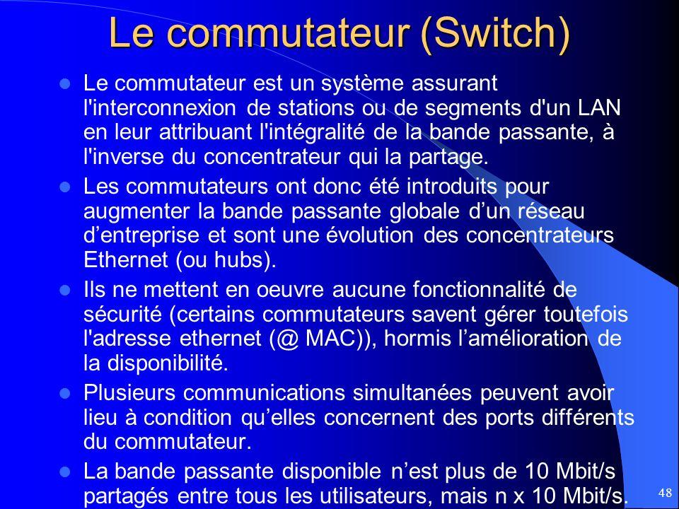 48 Le commutateur (Switch) Le commutateur est un système assurant l'interconnexion de stations ou de segments d'un LAN en leur attribuant l'intégralit