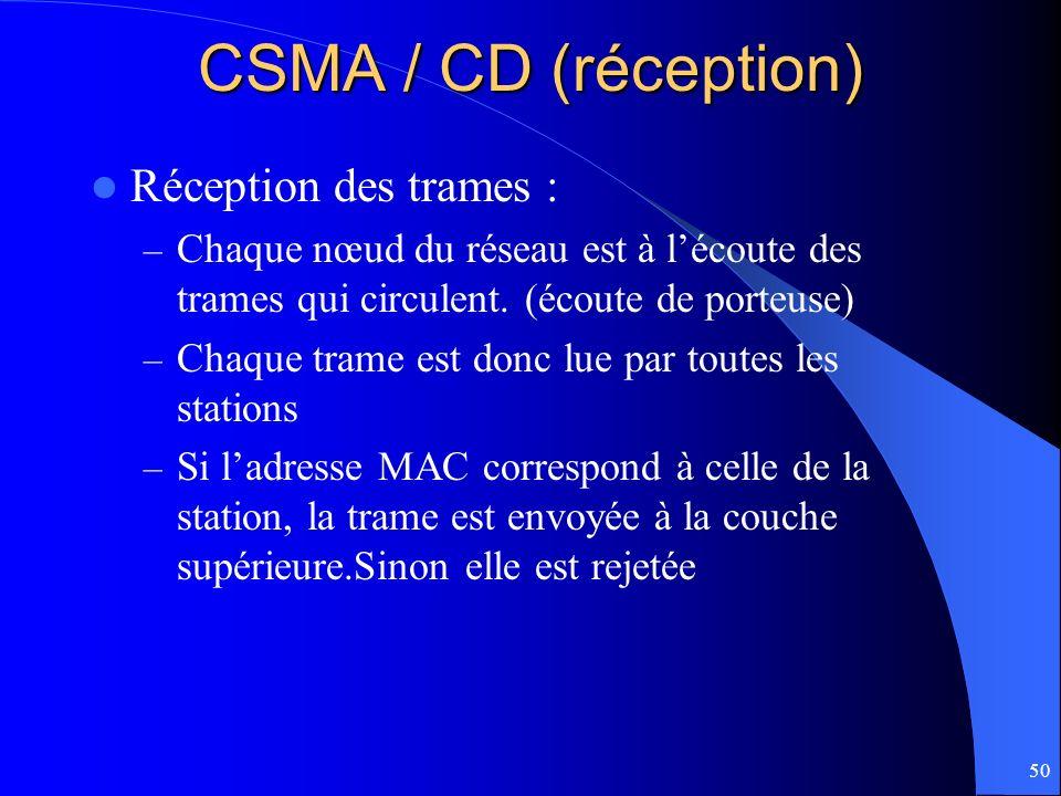 50 CSMA / CD (réception) Réception des trames : – Chaque nœud du réseau est à lécoute des trames qui circulent. (écoute de porteuse) – Chaque trame es
