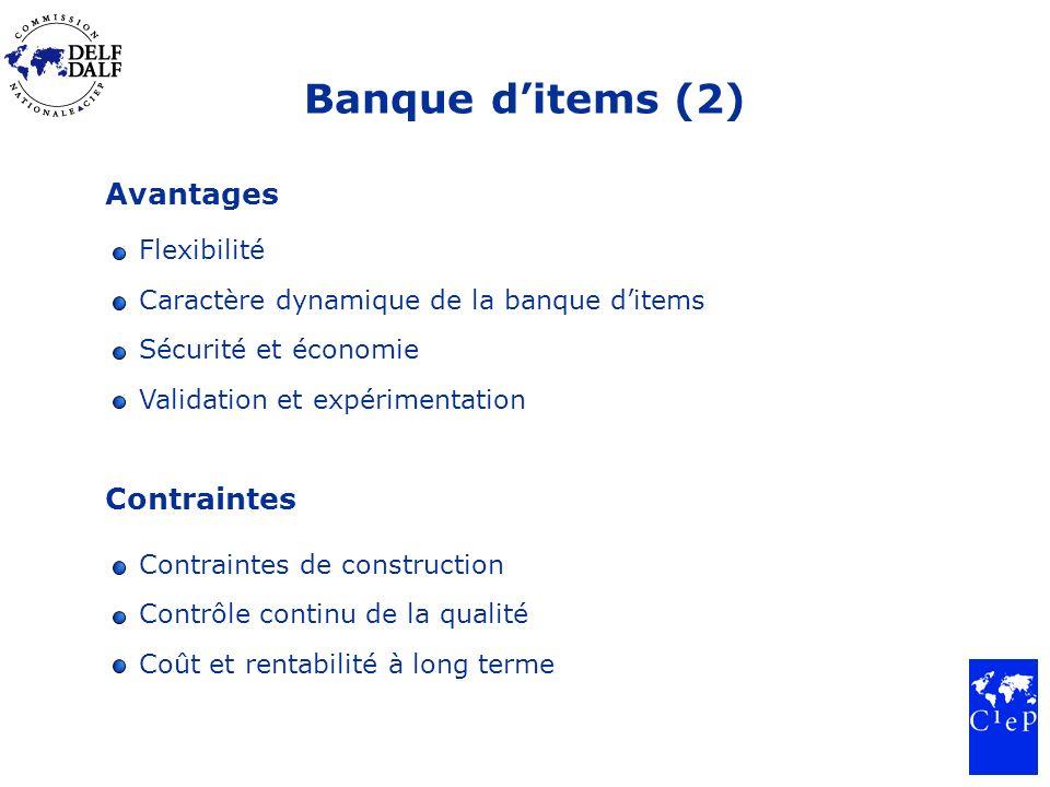 Banque ditems (2) Avantages Flexibilité Caractère dynamique de la banque ditems Sécurité et économie Validation et expérimentation Contraintes Contrai
