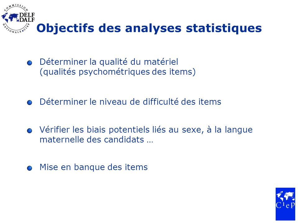 Objectifs des analyses statistiques Déterminer la qualité du matériel (qualités psychométriques des items) Déterminer le niveau de difficulté des item