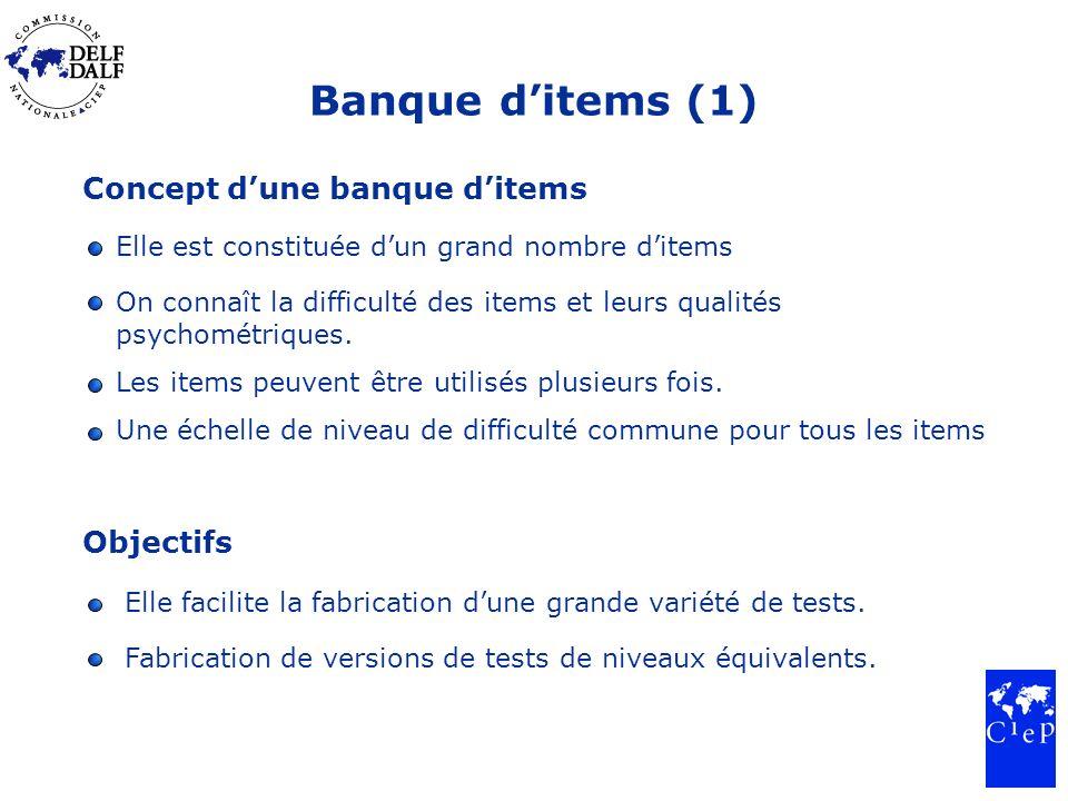 Banque ditems (1) Concept dune banque ditems Elle est constituée dun grand nombre ditems On connaît la difficulté des items et leurs qualités psychométriques.