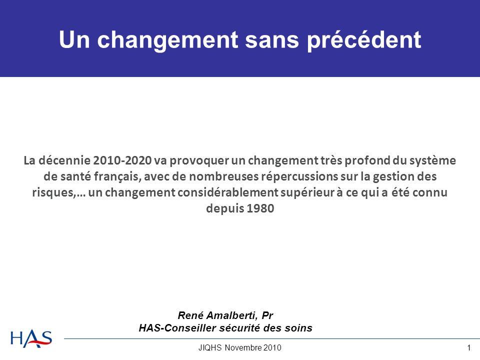 JIQHS Novembre 20101 Un changement sans précédent La décennie 2010-2020 va provoquer un changement très profond du système de santé français, avec de nombreuses répercussions sur la gestion des risques,… un changement considérablement supérieur à ce qui a été connu depuis 1980 René Amalberti, Pr HAS-Conseiller sécurité des soins