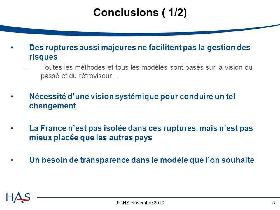 JIQHS Novembre 20106 Conclusions ( 1/2) Des ruptures aussi majeures ne facilitent pas la gestion des risques –Toutes les méthodes et tous les modèles
