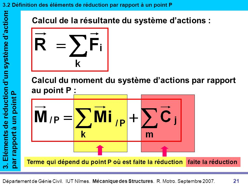 Département de Génie Civil. IUT Nîmes. Mécanique des Structures. R. Motro. Septembre 2007. 21 Terme constant indépendant du point P où est faite la ré