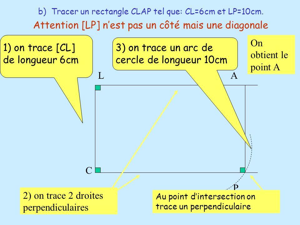 b) Tracer un rectangle CLAP tel que: CL=6cm et LP=10cm. 1) on trace [CL] de longueur 6cm L C A P 2) on trace 2 droites perpendiculaires 3) on trace un