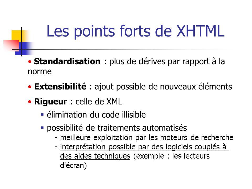 Les points forts de XHTML Standardisation : plus de dérives par rapport à la norme Extensibilité : ajout possible de nouveaux éléments Rigueur : celle