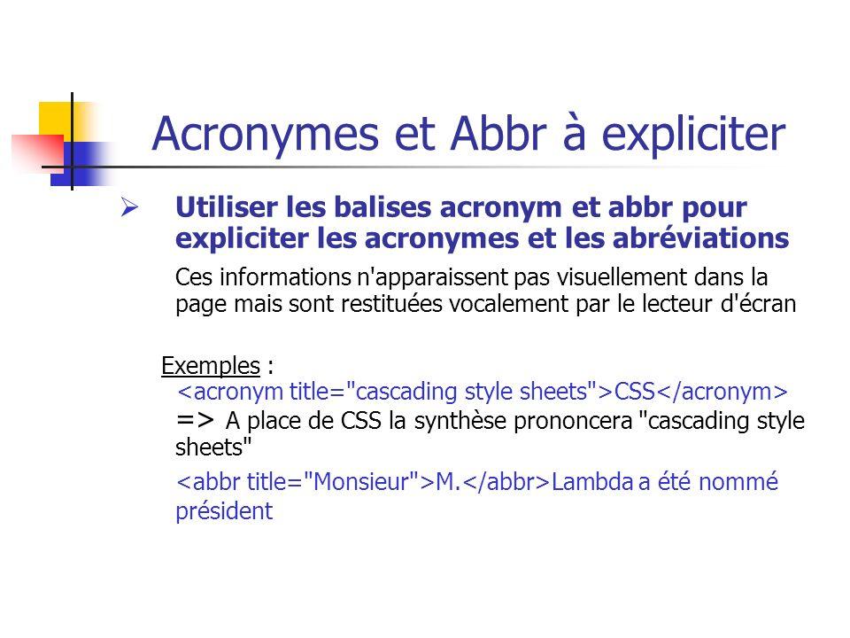 Acronymes et Abbr à expliciter Utiliser les balises acronym et abbr pour expliciter les acronymes et les abréviations Ces informations n'apparaissent