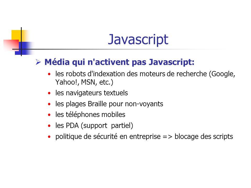 Javascript Média qui n'activent pas Javascript: les robots d'indexation des moteurs de recherche (Google, Yahoo!, MSN, etc.) les navigateurs textuels