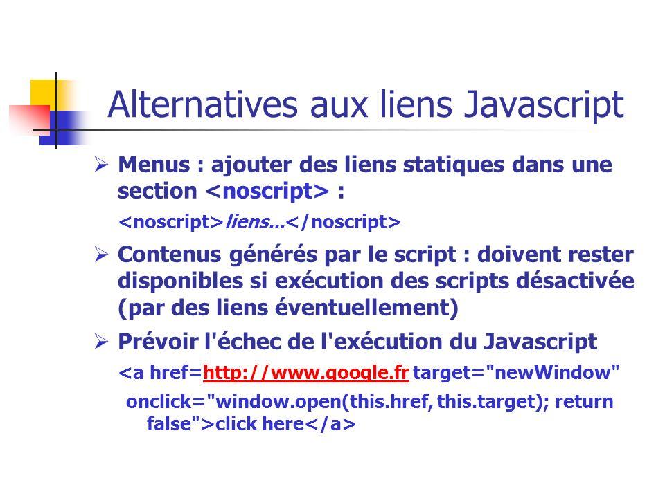 Alternatives aux liens Javascript Menus : ajouter des liens statiques dans une section : liens... Contenus générés par le script : doivent rester disp