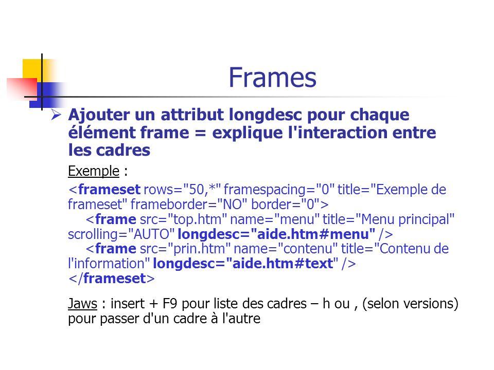 Frames Ajouter un attribut longdesc pour chaque élément frame = explique l'interaction entre les cadres Exemple : Jaws : insert + F9 pour liste des ca