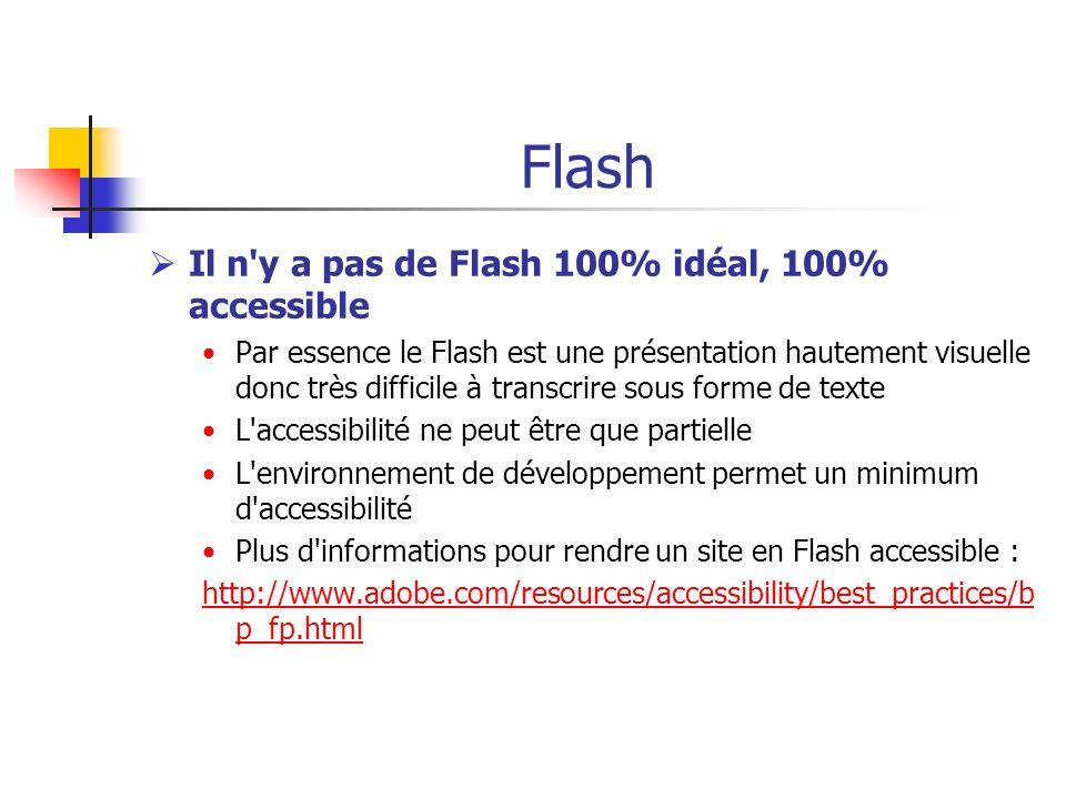 Flash Il n'y a pas de Flash 100% idéal, 100% accessible Par essence le Flash est une présentation hautement visuelle donc très difficile à transcrire