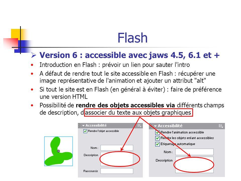 Flash Version 6 : accessible avec jaws 4.5, 6.1 et + Introduction en Flash : prévoir un lien pour sauter l'intro A défaut de rendre tout le site acces