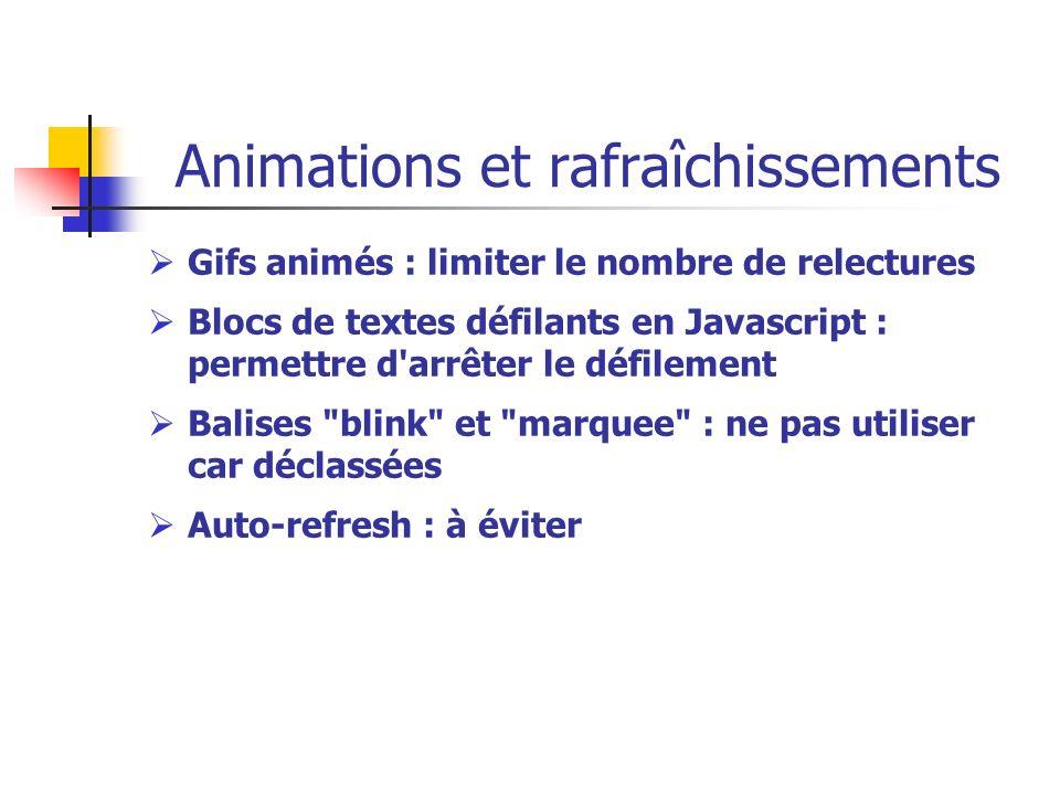 Animations et rafraîchissements Gifs animés : limiter le nombre de relectures Blocs de textes défilants en Javascript : permettre d'arrêter le défilem