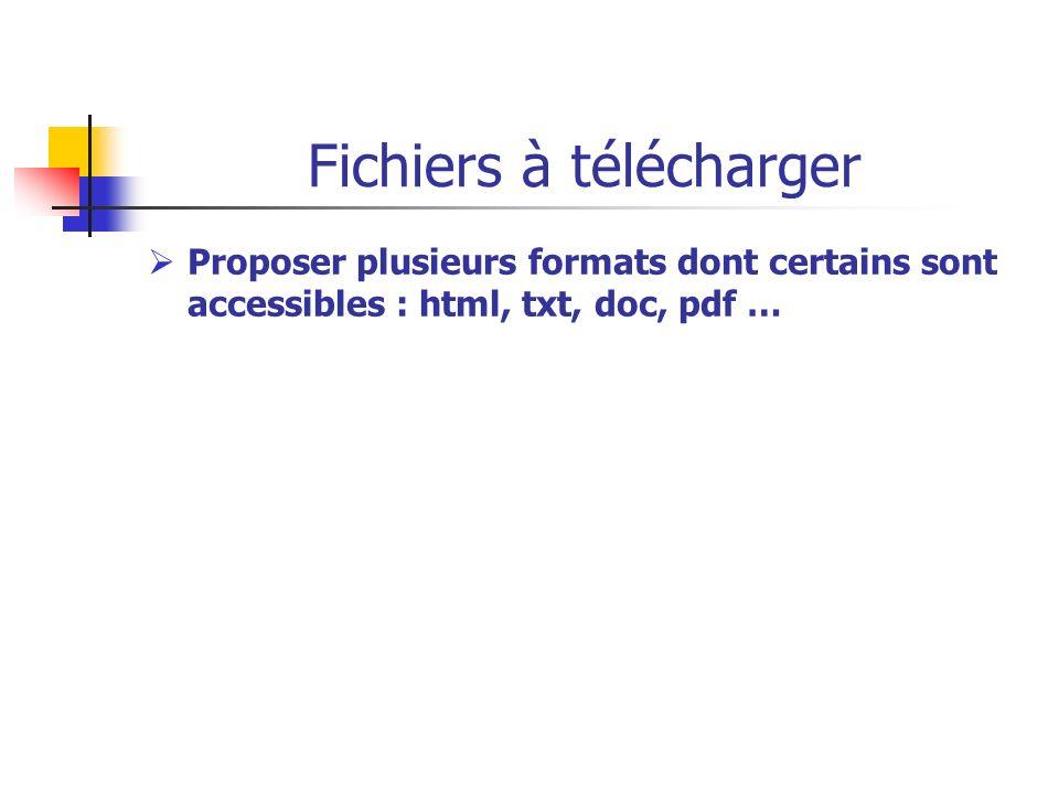 Fichiers à télécharger Proposer plusieurs formats dont certains sont accessibles : html, txt, doc, pdf …