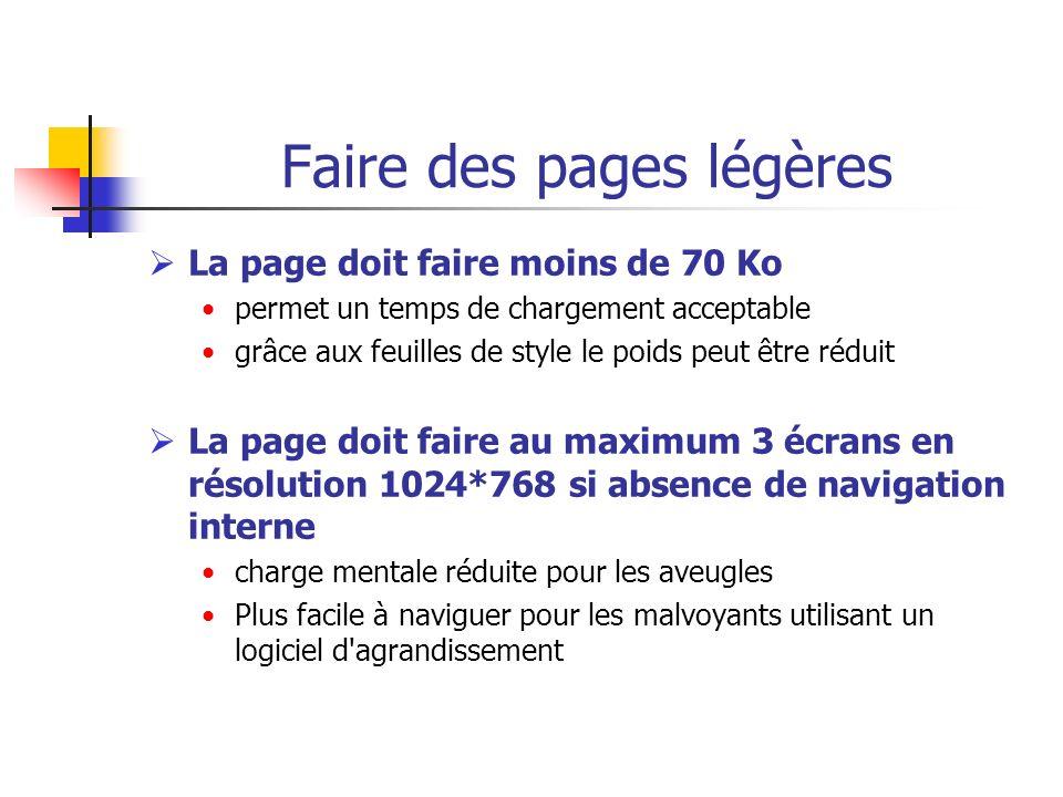 Faire des pages légères La page doit faire moins de 70 Ko permet un temps de chargement acceptable grâce aux feuilles de style le poids peut être rédu