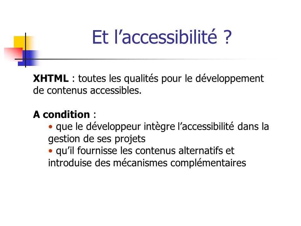 Et laccessibilité ? XHTML : toutes les qualités pour le développement de contenus accessibles. A condition : que le développeur intègre laccessibilité