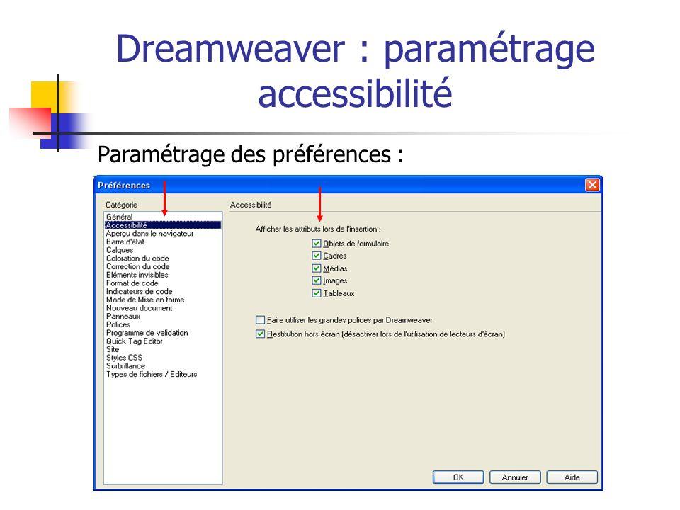 Dreamweaver : paramétrage accessibilité Paramétrage des préférences :