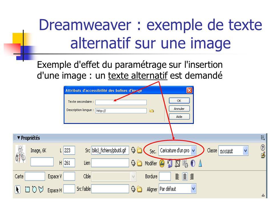Dreamweaver : exemple de texte alternatif sur une image Exemple d'effet du paramétrage sur l'insertion d'une image : un texte alternatif est demandé