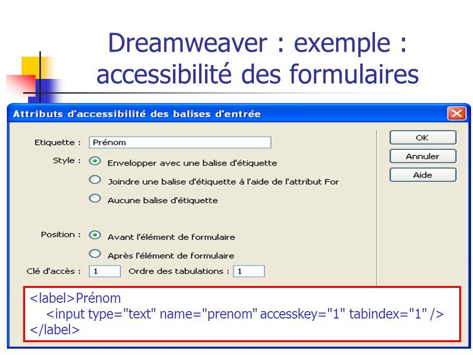 Dreamweaver : exemple : accessibilité des formulaires Prénom