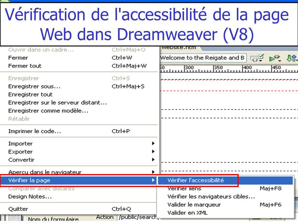 Vérification de l'accessibilité de la page Web dans Dreamweaver (V8)