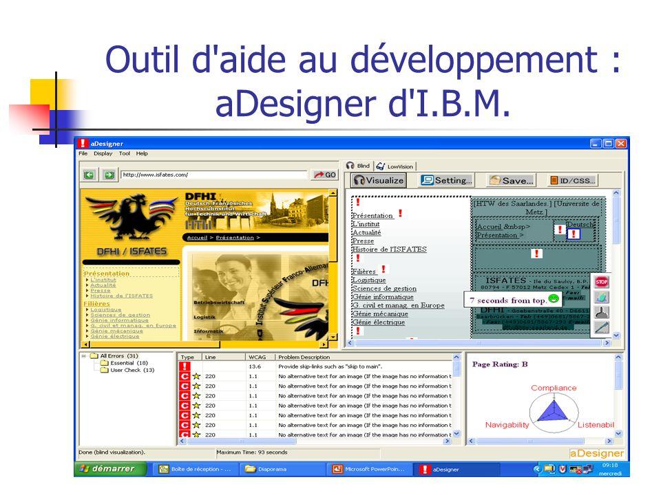 Outil d'aide au développement : aDesigner d'I.B.M.