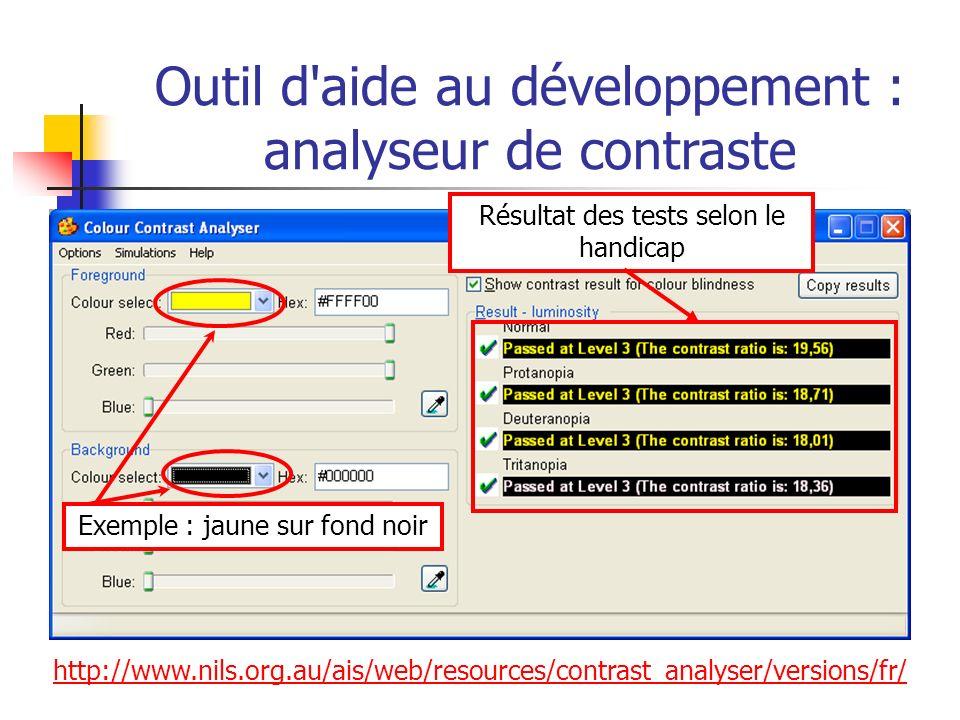 http://www.nils.org.au/ais/web/resources/contrast_analyser/versions/fr/ Outil d'aide au développement : analyseur de contraste Résultat des tests selo
