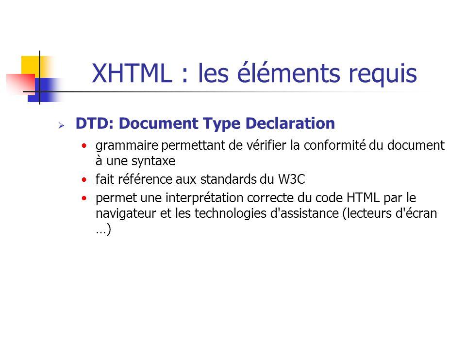 XHTML : les éléments requis DTD: Document Type Declaration grammaire permettant de vérifier la conformité du document à une syntaxe fait référence aux
