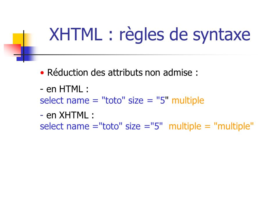 XHTML : règles de syntaxe Réduction des attributs non admise : - en HTML : select name =