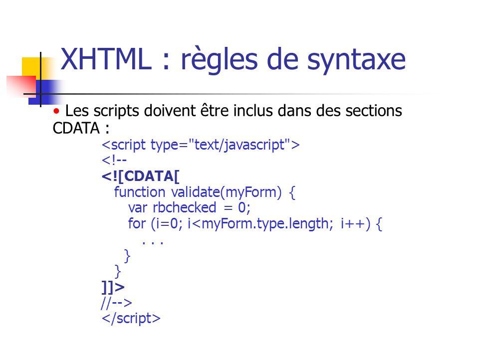 XHTML : règles de syntaxe Les scripts doivent être inclus dans des sections CDATA : <!-- <![CDATA[ function validate(myForm) { var rbchecked = 0; for