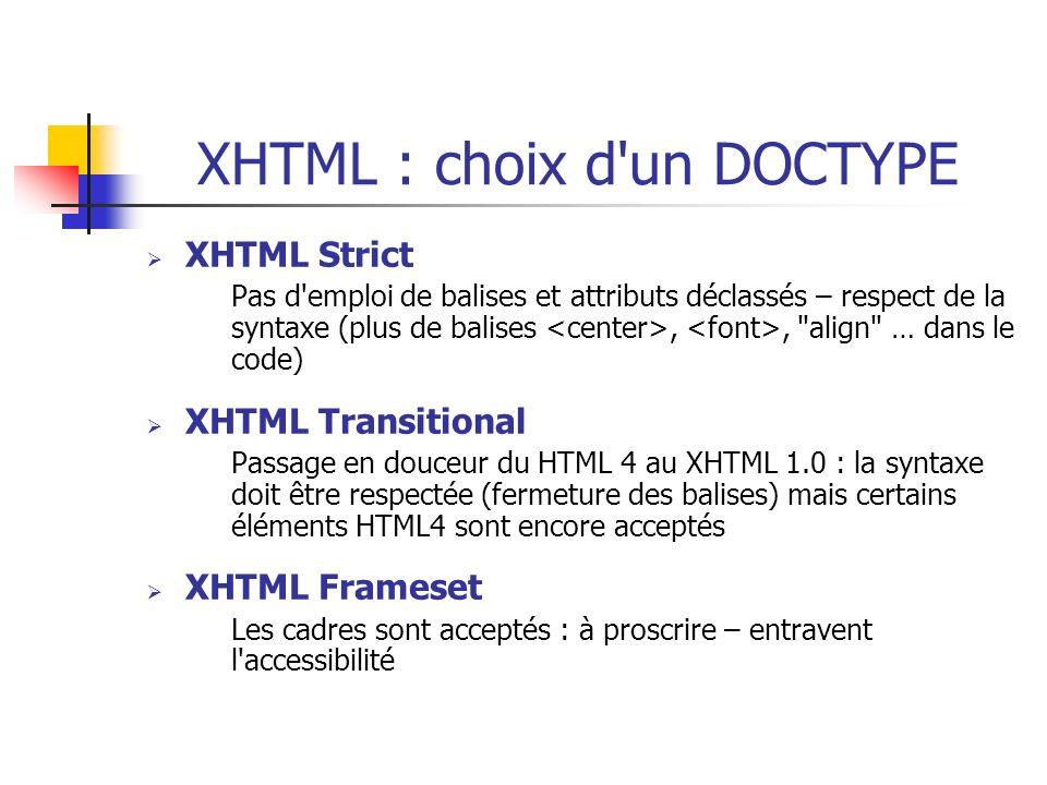 XHTML : choix d'un DOCTYPE XHTML Strict Pas d'emploi de balises et attributs déclassés – respect de la syntaxe (plus de balises,,