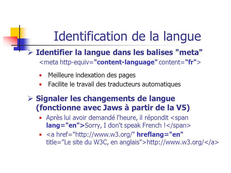 Identification de la langue Identifier la langue dans les balises