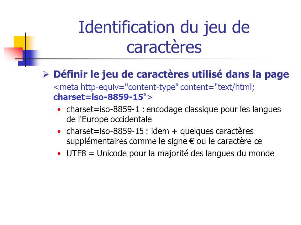 Identification du jeu de caractères Définir le jeu de caractères utilisé dans la page charset=iso-8859-1 : encodage classique pour les langues de l'Eu