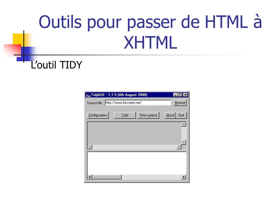 Outils pour passer de HTML à XHTML Loutil TIDY