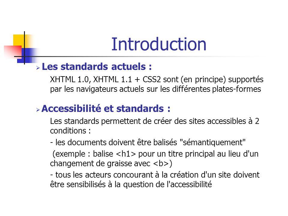 Introduction Les standards actuels : XHTML 1.0, XHTML 1.1 + CSS2 sont (en principe) supportés par les navigateurs actuels sur les différentes plates-f