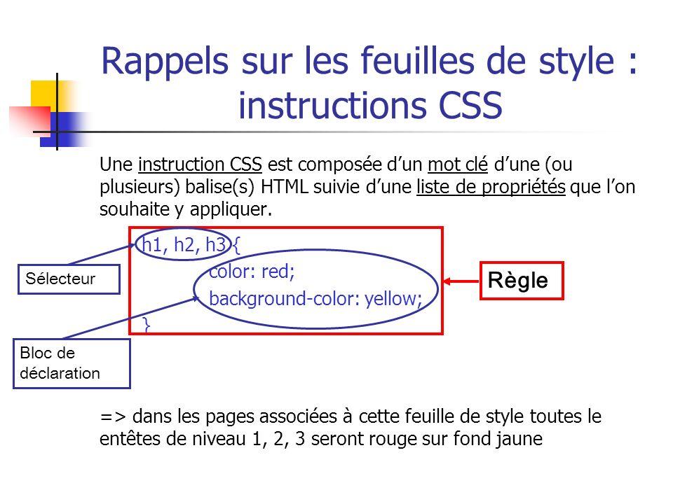 Rappels sur les feuilles de style : instructions CSS Une instruction CSS est composée dun mot clé dune (ou plusieurs) balise(s) HTML suivie dune liste