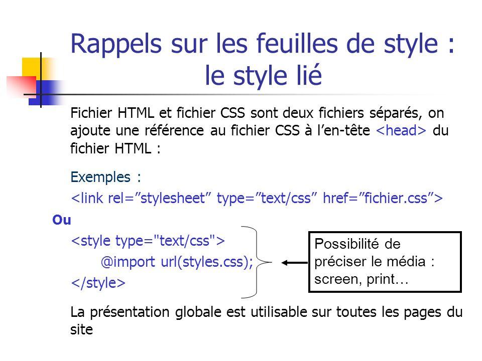 Rappels sur les feuilles de style : le style lié Fichier HTML et fichier CSS sont deux fichiers séparés, on ajoute une référence au fichier CSS à len-