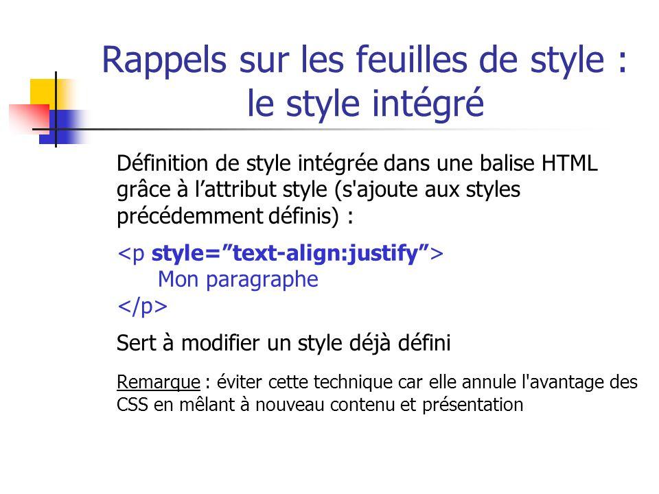Rappels sur les feuilles de style : le style intégré Définition de style intégrée dans une balise HTML grâce à lattribut style (s'ajoute aux styles pr
