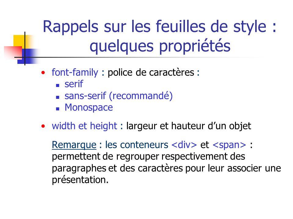Rappels sur les feuilles de style : quelques propriétés font-family : police de caractères : serif sans-serif (recommandé) Monospace width et height :