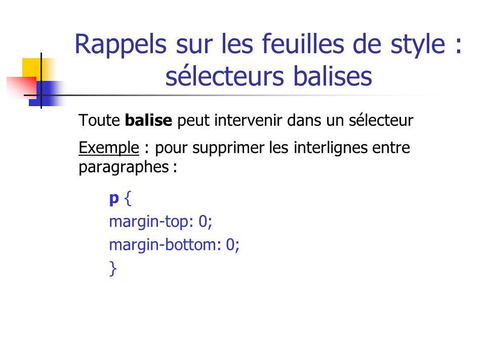Rappels sur les feuilles de style : sélecteurs balises Toute balise peut intervenir dans un sélecteur Exemple : pour supprimer les interlignes entre p