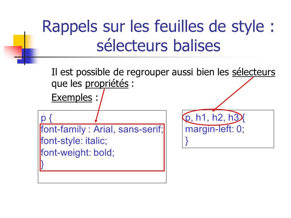 Rappels sur les feuilles de style : sélecteurs balises Il est possible de regrouper aussi bien les sélecteurs que les propriétés : Exemples : p, h1, h