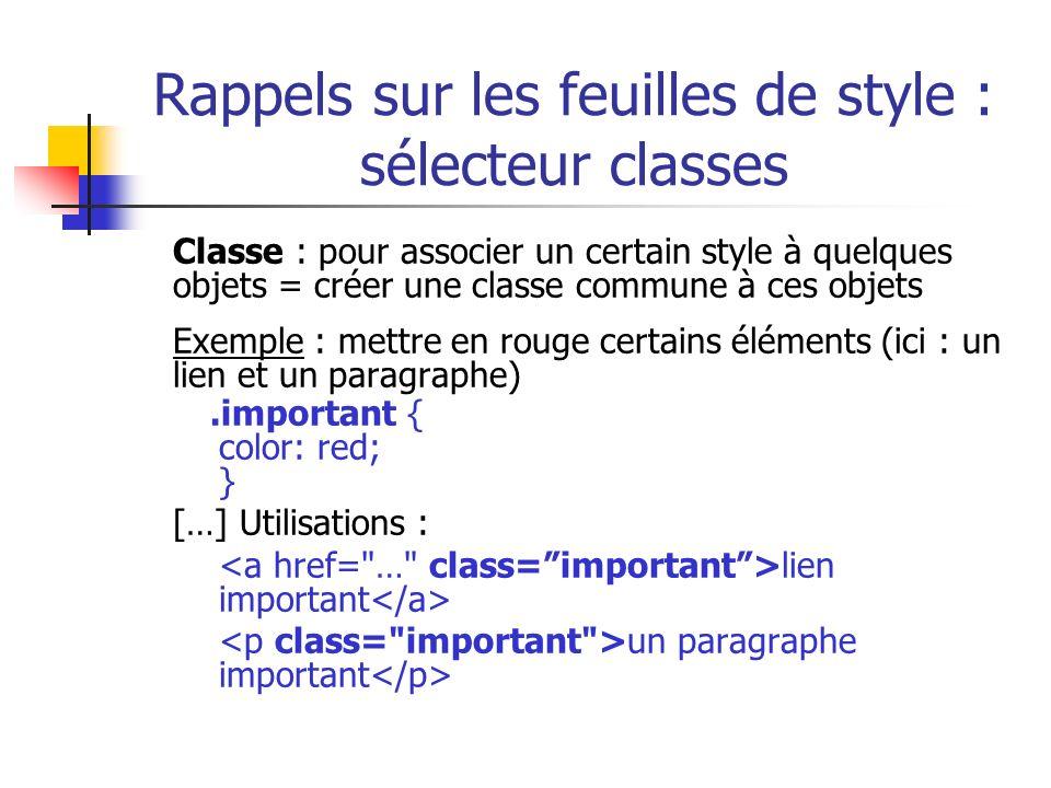 Rappels sur les feuilles de style : sélecteur classes Classe : pour associer un certain style à quelques objets = créer une classe commune à ces objet