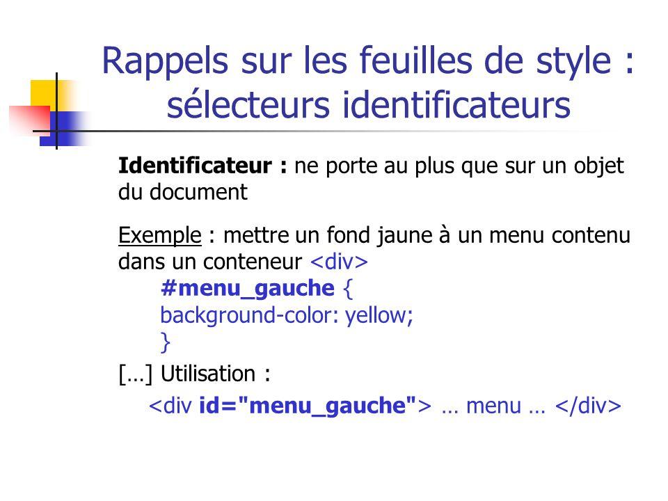 Rappels sur les feuilles de style : sélecteurs identificateurs Identificateur : ne porte au plus que sur un objet du document Exemple : mettre un fond