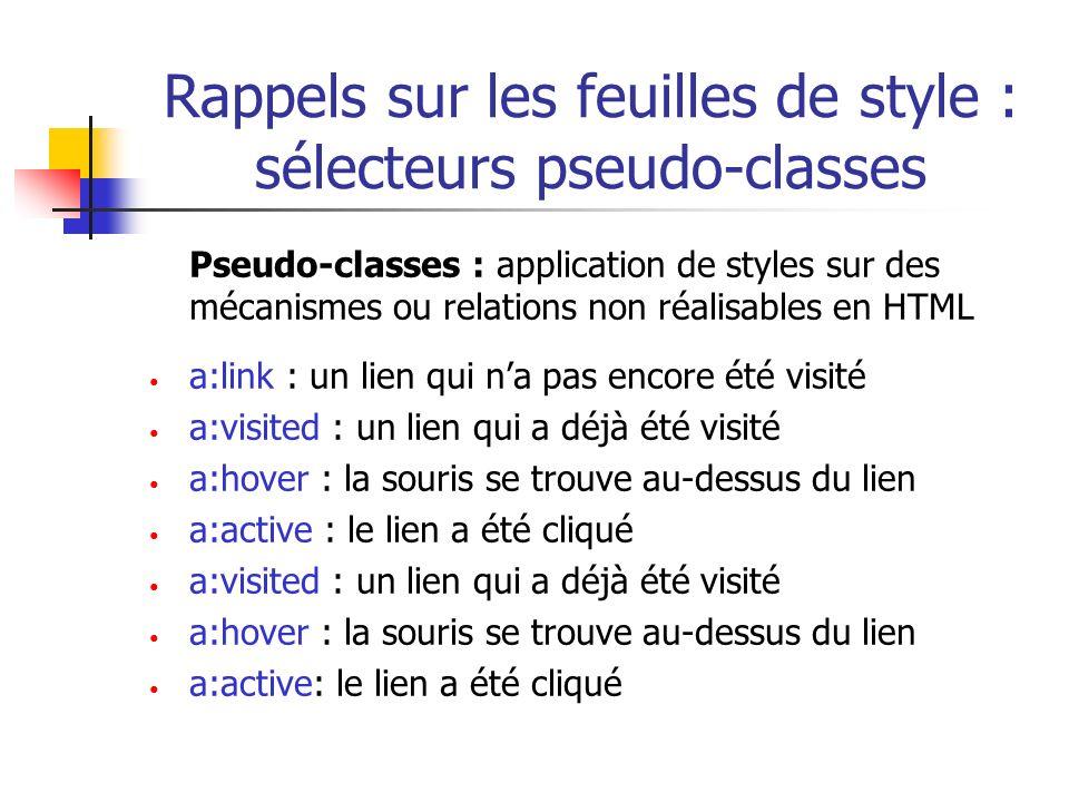 Rappels sur les feuilles de style : sélecteurs pseudo-classes Pseudo-classes : application de styles sur des mécanismes ou relations non réalisables e