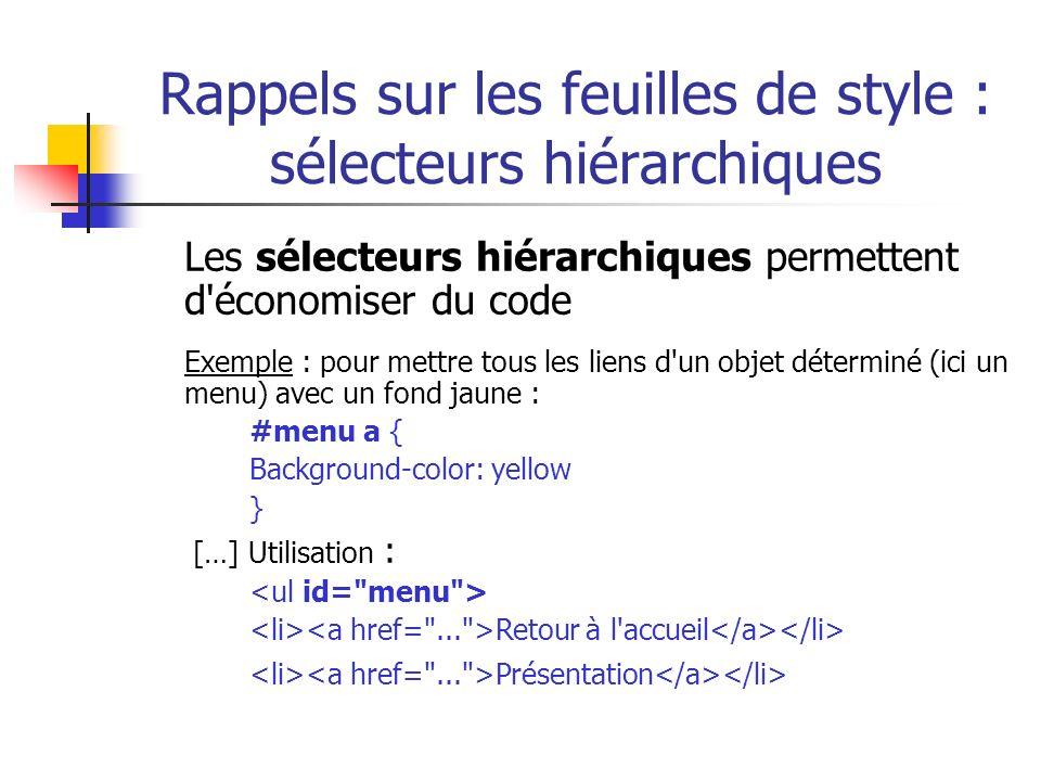 Rappels sur les feuilles de style : sélecteurs hiérarchiques Les sélecteurs hiérarchiques permettent d'économiser du code Exemple : pour mettre tous l