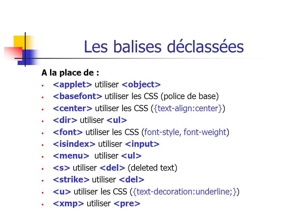 Les balises déclassées A la place de : utiliser utiliser les CSS (police de base) utiliser les CSS ({text-align:center}) utiliser utiliser les CSS (fo