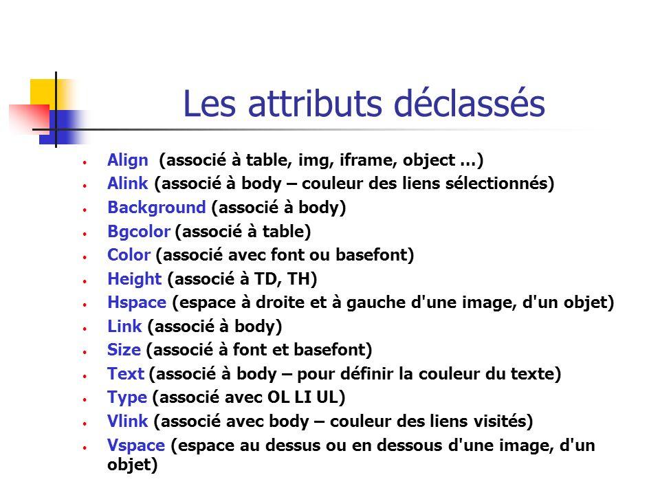 Les attributs déclassés Align (associé à table, img, iframe, object...) Alink (associé à body – couleur des liens sélectionnés) Background (associé à
