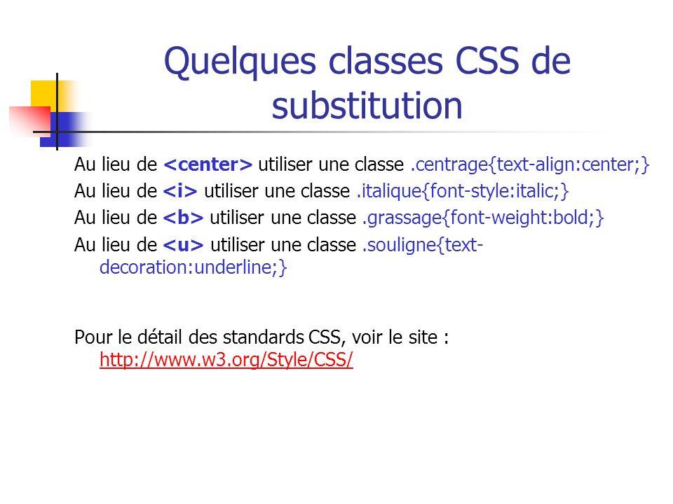 Quelques classes CSS de substitution Au lieu de utiliser une classe.centrage{text-align:center;} Au lieu de utiliser une classe.italique{font-style:it